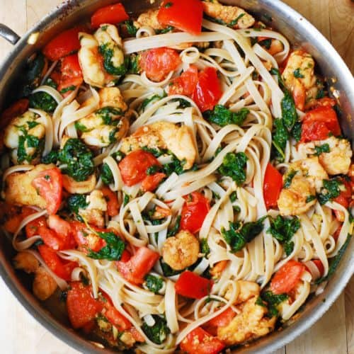 tomato shrimp spinach pasta