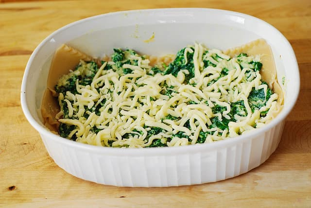 Sprinkle Mozzarella cheese over spinach, ricotta cheese and Mozzarella cheese mixture