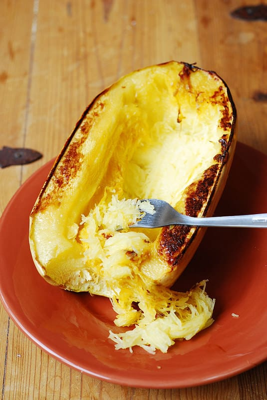 scraping flesh out of spaghetti squash