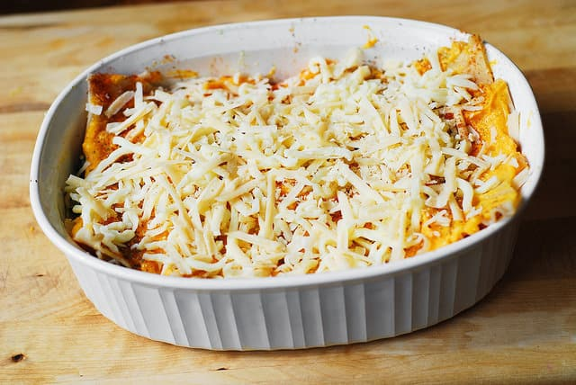 Sprinkle Mozzarella cheese over butternut squash, vegetarian lasagna recipe, gluten free lasagna recipe, butternut squash lasagna recipe, pasta dishes