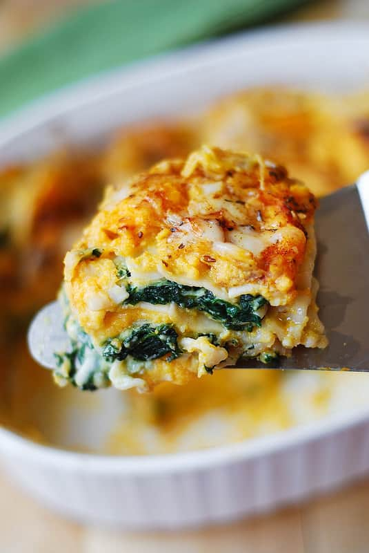 vegetarian lasagna recipe, spinach lasagna recipe, butternut squash lasagna recipe