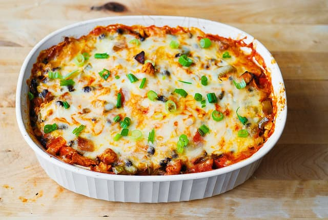 Mexican enchilada casserole right after baking