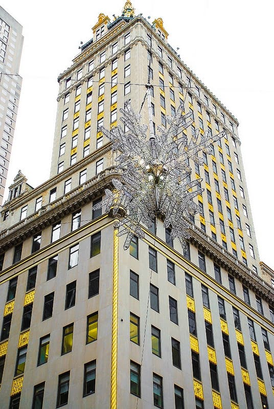 giant snowflake in NYC, snowflake above the intersection of 5th avenue and 57th street, UNICEF snowflake