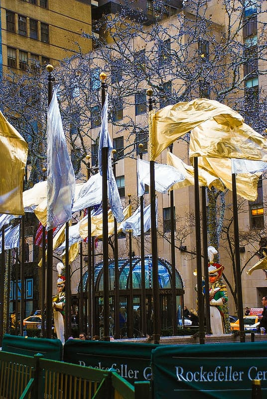 Christmas lights and flags in Rockefeller Plaza NYC, New York City