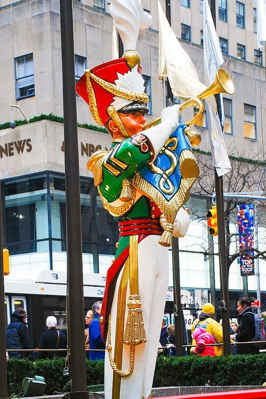 gigantic Christmas toy soldiers, Rockefeller Plaza NYC
