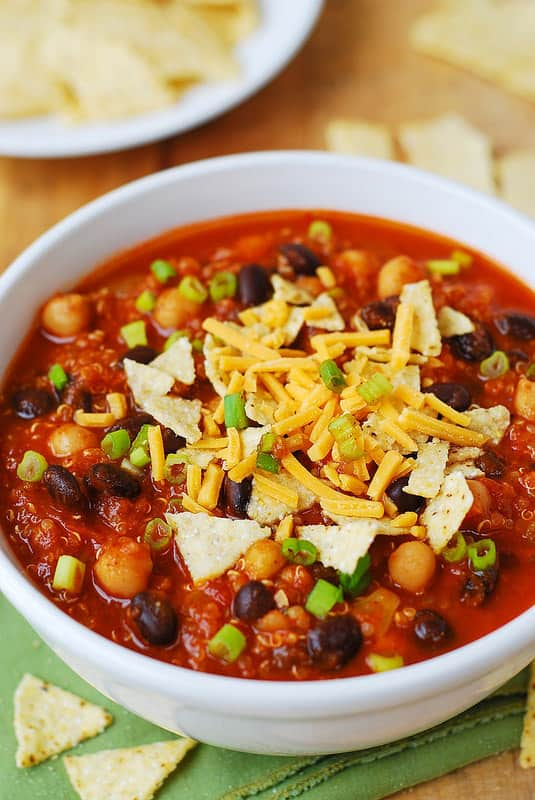 Pumpkin Quinoa Chili with Black Beans and Chickpeas (garbanzo beans) in a white bowl