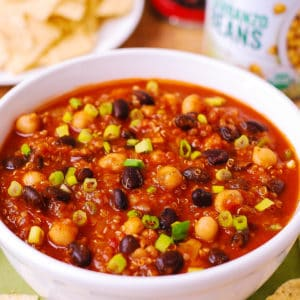 pumpkin quinoa chili with black beans and chickpeas