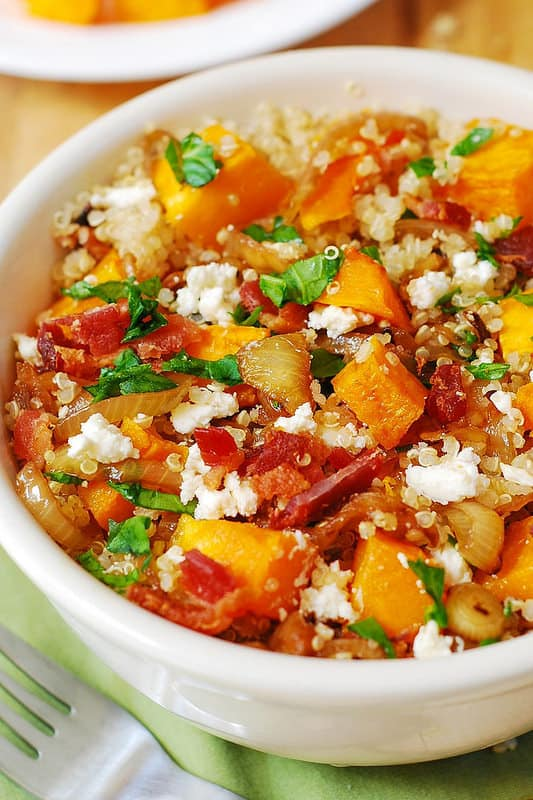 Quinoa and Butternut Squash Salad with Caramelized Onions, Feta, and Bacon