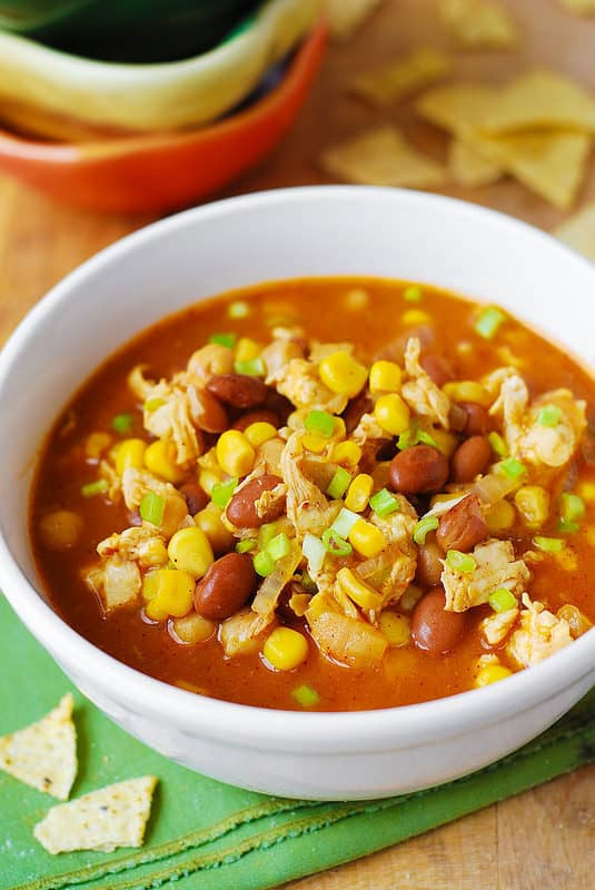 White Chicken Chili with Pinto Beans, Chickpeas, Green Chili Peppers, and Corn