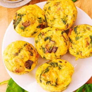 savory vegetable muffins with spinach, eggs, mushrooms, gluten free KETO recipe