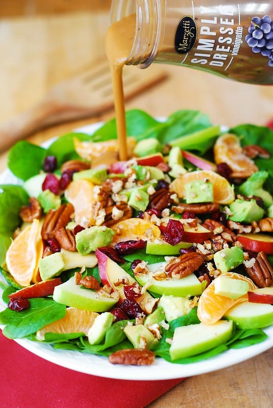 Apple Cranberry Spinach Salad with Pecans, Avocados (and Balsamic Vinaigrette Dressing)