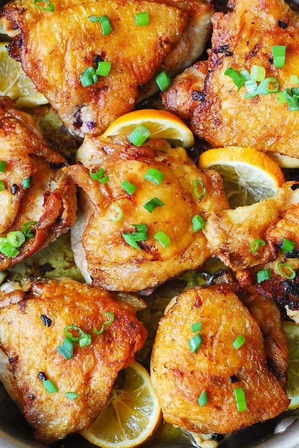 gluten free dinner recipe, chicken dinner, skin-on bone-in chicken thighs