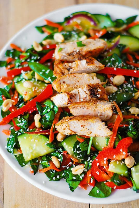 Crunchy Asian Salad with Vegetables, Chicken and Sesame Peanut Dressing