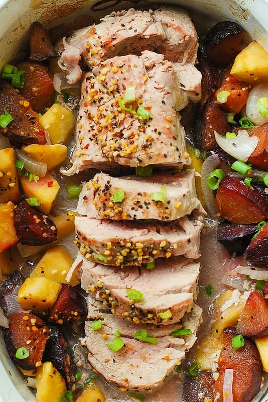 Oven roasted pork tenderloin with fruit