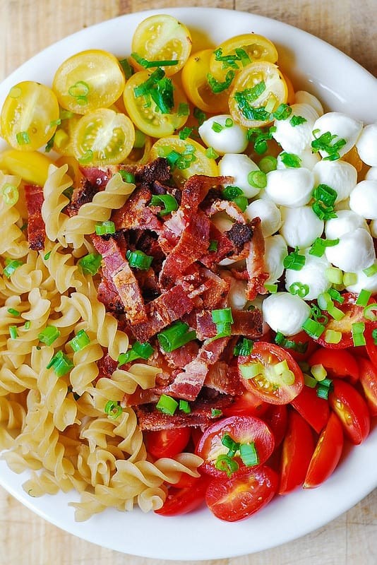 Pasta with Garlic Roasted Tomatoes, Bacon, and Mozzarella
