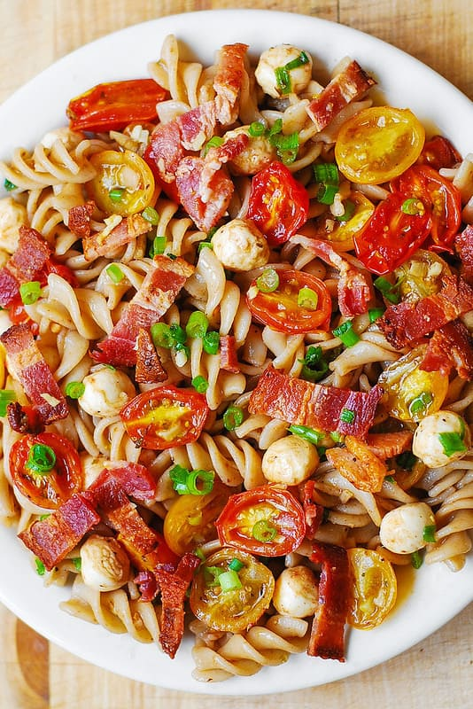 Summer Pasta with Garlic Roasted Tomatoes, Bacon, and Mozzarella
