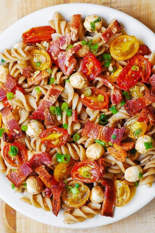 Pasta Salad with Bacon, Tomatoes, and Mozzarella