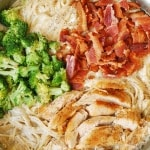 Fettuccine Alfredo with Chicken, Broccoli, and Bacon