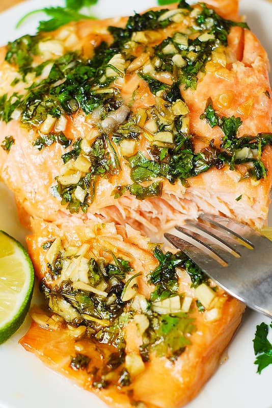 Cilantro Lime Honey Garlic Salmon (baked in foil)