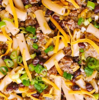 One-Pot Salsa Verde Pasta with Sausage and Black Beans