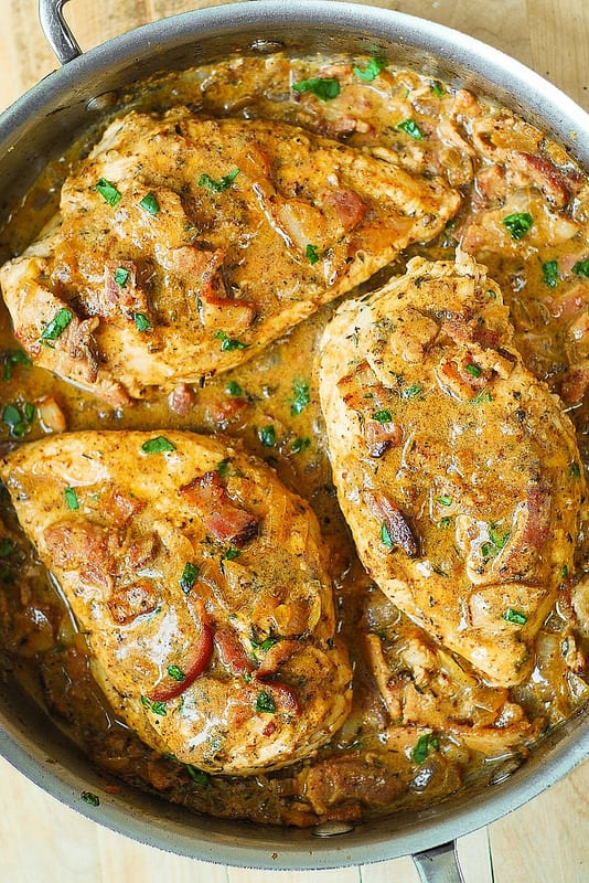 chicken breast in a creamy mustard sauce with bacon