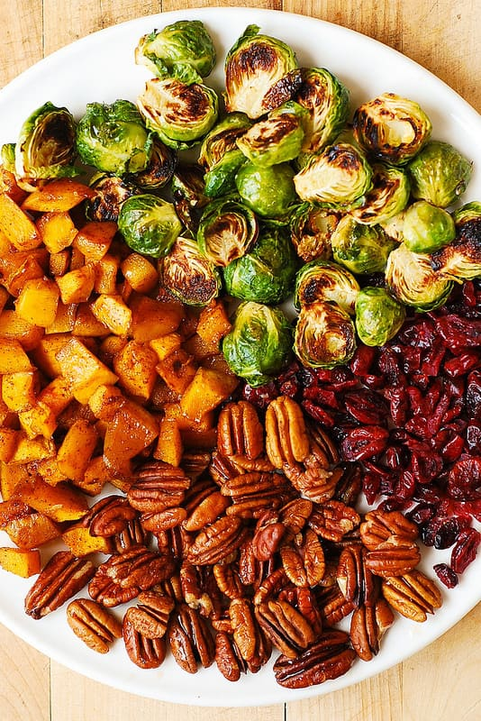 Thanksgiving Side Dish with Roasted Brussels Sprouts, Cinnamon Butternut Squash, Pecans, and Cranberries