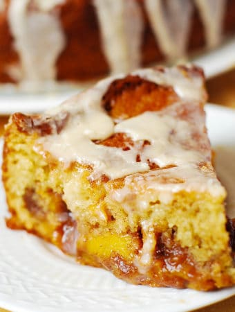 Peach Coffee Cake with Vanilla Glaze