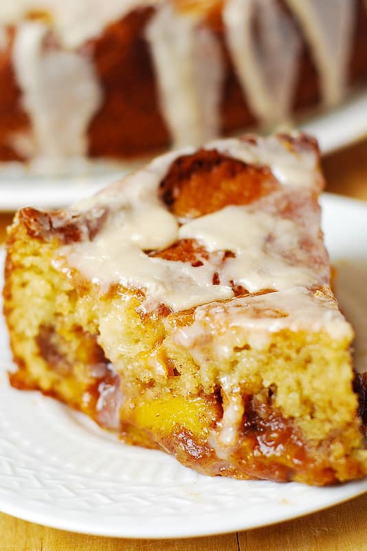 Peach Coffee Cake with Vanilla Glaze with brown sugar, cinnamon and nutmeg