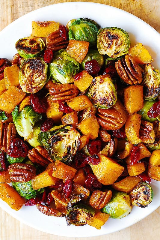 Thanksgiving Salad with Roasted Brussels Sprouts, Cinnamon Butternut Squash, Pecans, and Cranberries