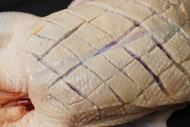 score the duck breast in a diamond pattern