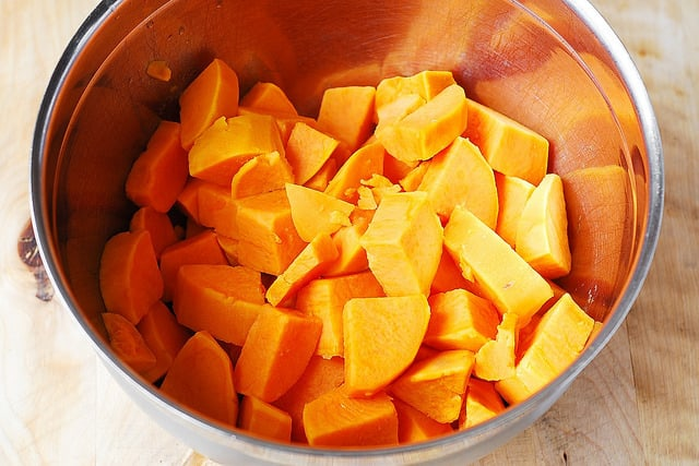 cook cubed sweet potatoes for 20 or 30 minutes until soft