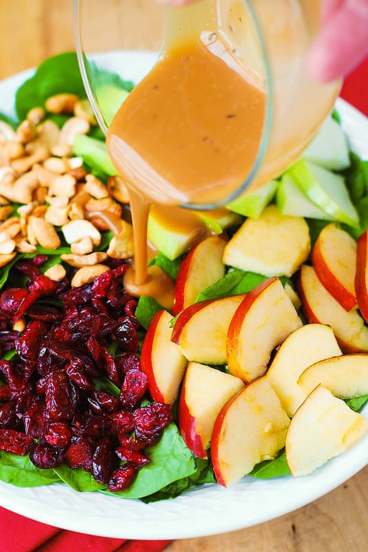Apple Cranberry Spinach Salad with Cashews and Balsamic Vinaigrette