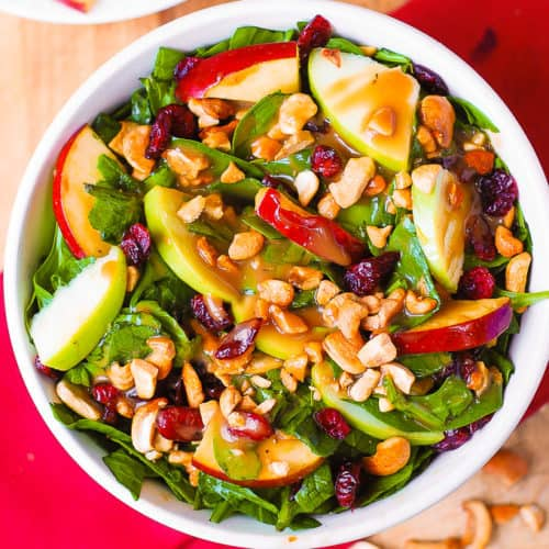apple cranberry spinach cashew salad with balsamic dressing