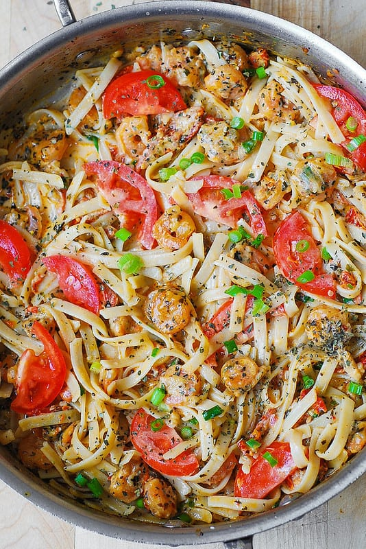 Shrimp with Basil Tomato Fettuccine Pasta