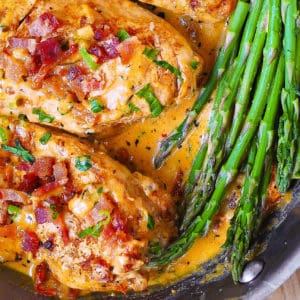 chicken breasts and bacon with sun-dried tomato sauce