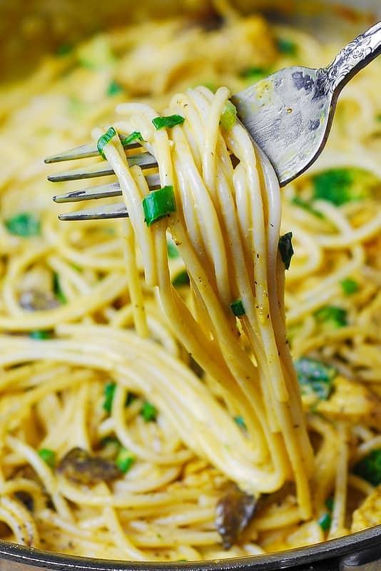 Golden Mushroom Chicken Spaghetti Pasta
