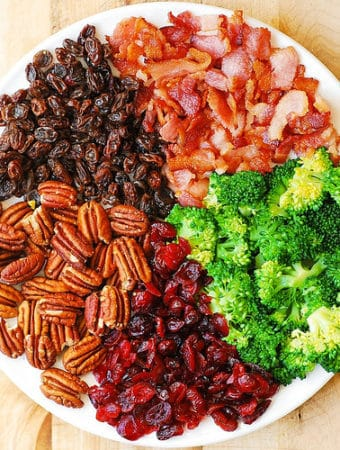 Broccoli Bacon Salad with Pecans, Raisins, and Cranberries