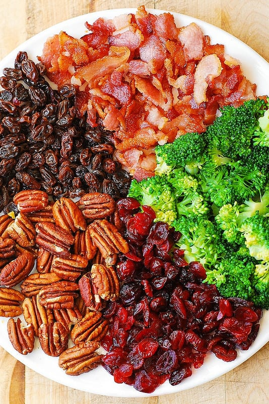 Broccoli Salad with Pecans, Cranberries, Raisins, and Bacon