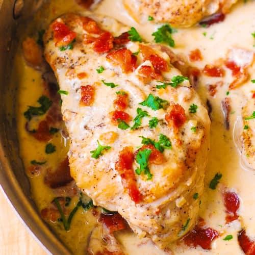 Asiago Chicken With Bacon Cream Sauce