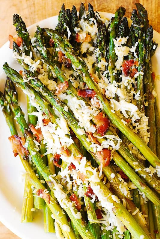 oven-roasted asparagus with garlic, bacon, and Asiago Cheese
