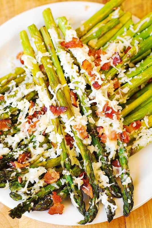 oven-roasted asparagus with bacon and Asiago cheese