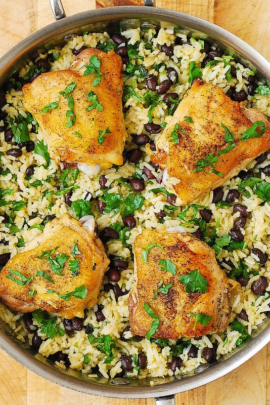 easy chicken dinner recipes, chicken thigh recipes, healthy chicken thigh recipes, healthy rice, gluten free dinners