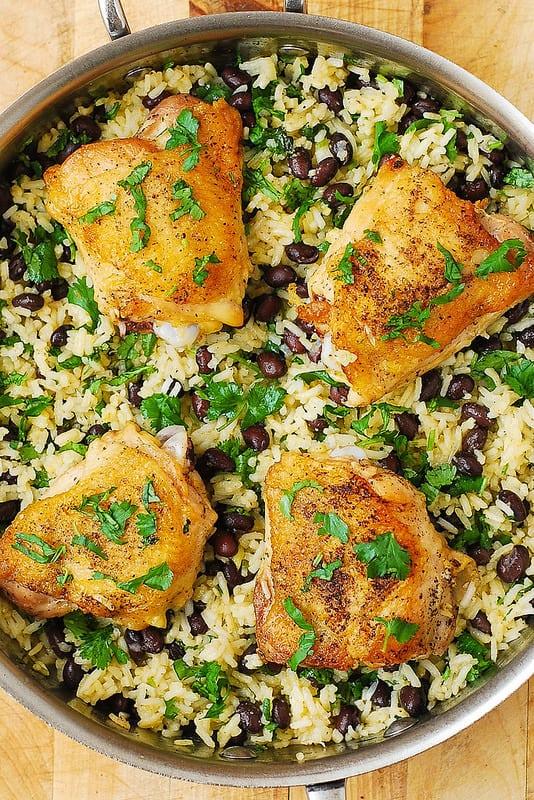 easy chicken dinner recipes, chicken thigh recipes, healthy chicken thigh recipes, healthy rice, gluten free dinners