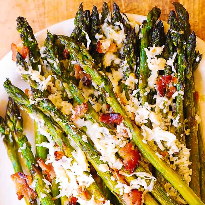 Oven Roasted Asparagus With Asiago Bacon And Garlic Julia S Album