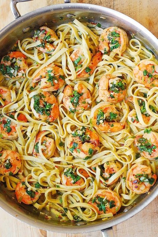 best pasta, shrimp pasta, seafood pasta, fettuccine, linguine
