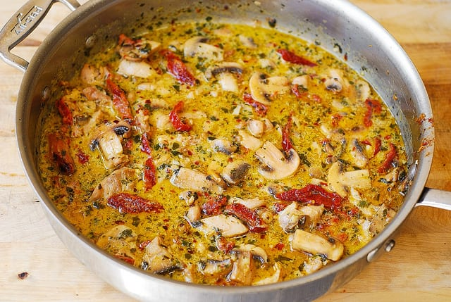 creamy pesto sauce with chicken, mushrooms, sun-dried tomatoes