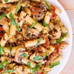 Chicken Basil Pesto Pasta with Mushrooms