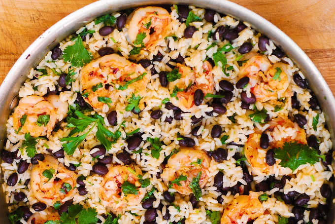 Cilantro Lime And Black Bean Shrimp And Rice Skillet Julia S Album
