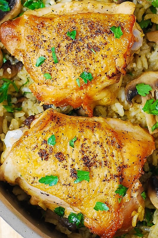 best chicken thighs, simple chicken dinner, best chicken recipes, chicken and rice with mushrooms, gluten free dinners