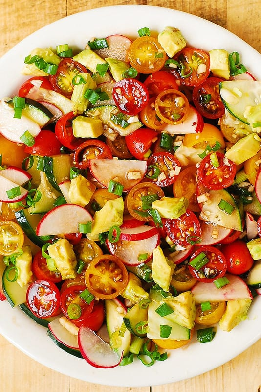 Radish Tomato Avocado Salad with Balsamic Dressing